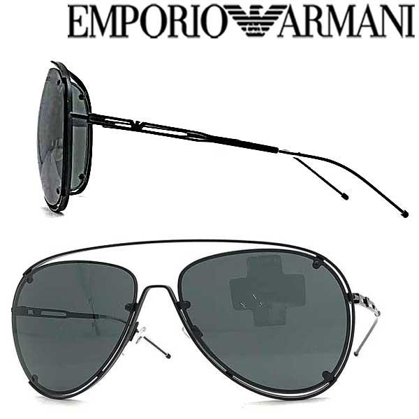 EMPORIO ARMANI サングラス UVカット エンポリオアルマーニ メンズ レディース ブラック ティアドロップ EMP-EA-2073-S-3001-87 ブランド