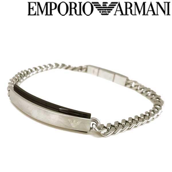 EMPORIO ARMANI ブレスレット エンポリオアルマーニ メンズ&レディース マットシルバー×ブラック EGS25400