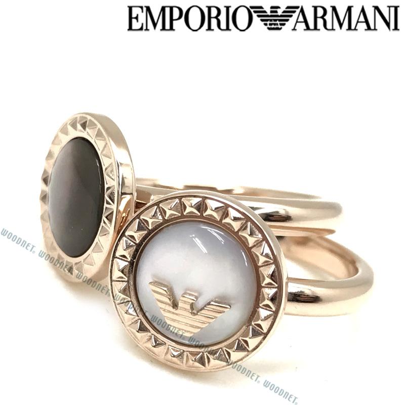 EMPORIO ARMANI リング・指輪 エンポリオアルマーニ メンズ&レディース ゴールド×ブラックパール×ホワイトパール 2連 EGS2561221 ブランド