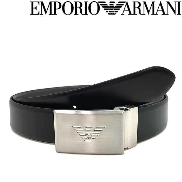 EMPORIO ARMANI ベルト エンポリオアルマーニ メンズ イーグルロゴ レザー リバーシブル ブラック×グレー カット長さ調節可能 Y4S224-YLQ7E-81972 ブランド