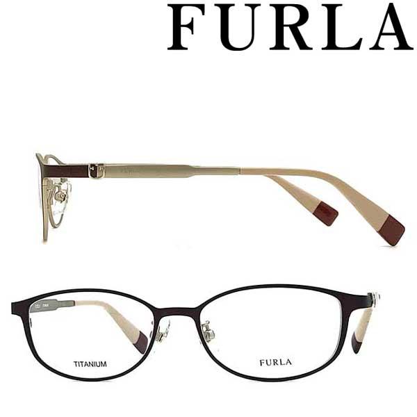 FURLA メガネフレーム フルラ レディース マットボルドー 眼鏡 VFU-406J-I88M ブランド