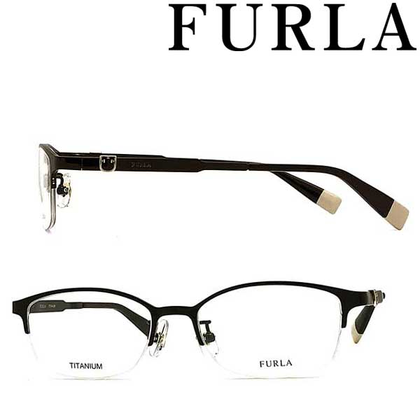 FURLA メガネフレーム フルラ レディース ブラック 眼鏡 VFU-407J-0530 ブランド