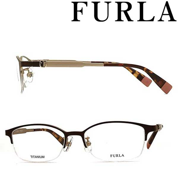 FURLA メガネフレーム フルラ レディース マットダークブラウン 眼鏡 VFU-407J-I88K ブランド