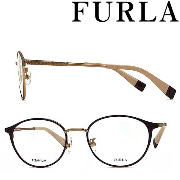 FURLA メガネフレーム フルラ レディース マットスモーキーダークパープル 眼鏡 VFU-408J-0S44 ブランド