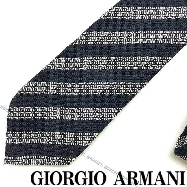 GIORGIO ARMANI ネクタイ ジョルジオアルマーニ メンズ シルク×コットン ネイビー×ホワイト 360087-913-00136 ブランド ビジネス