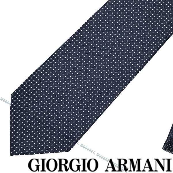 GIORGIO ARMANI ネクタイ ジョルジオアルマーニ シルク メンズ ダークネイビー×ホワイト 360087-941-00036 ブランド