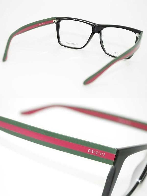 woodnet: Glasses frames Gucci black × green x red Wellington-GUCCI ...