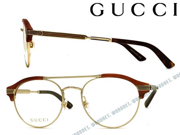 GUCCI メガネフレーム グッチ メンズ&レディース ゴールド×クリアライトブラウン 眼鏡 GUC-GG-0289O-003 ブランド