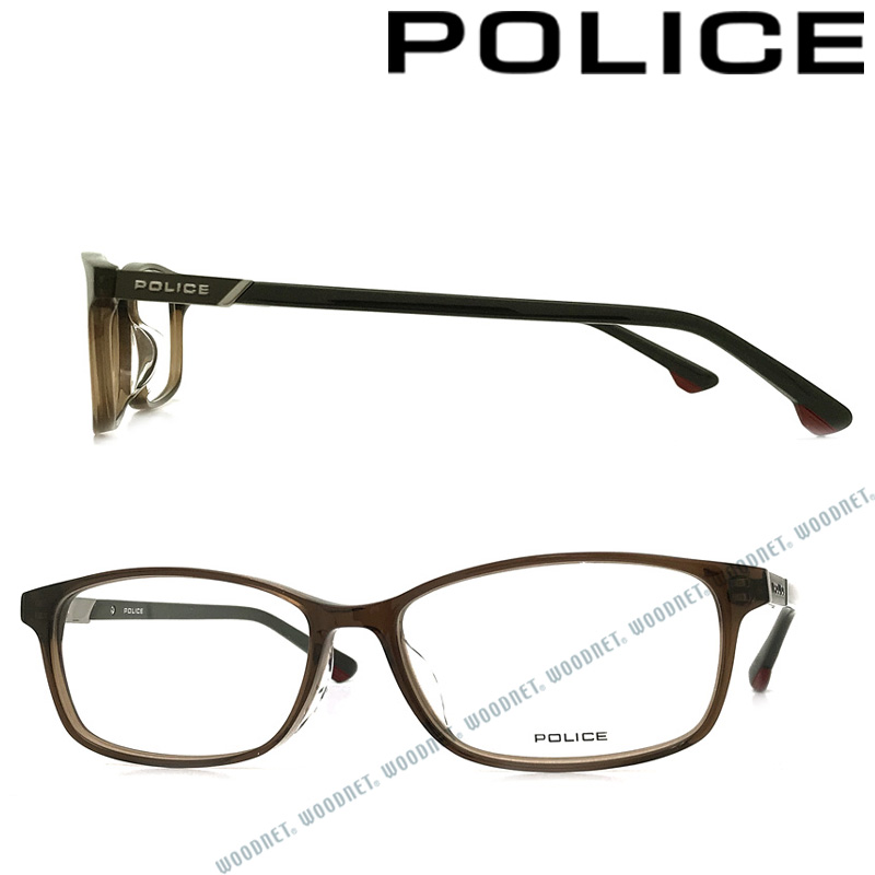 POLICE メガネフレーム ポリス メンズ&レディース クリアーブラウン 眼鏡 POLICE-VPL847J-02BT ブランド