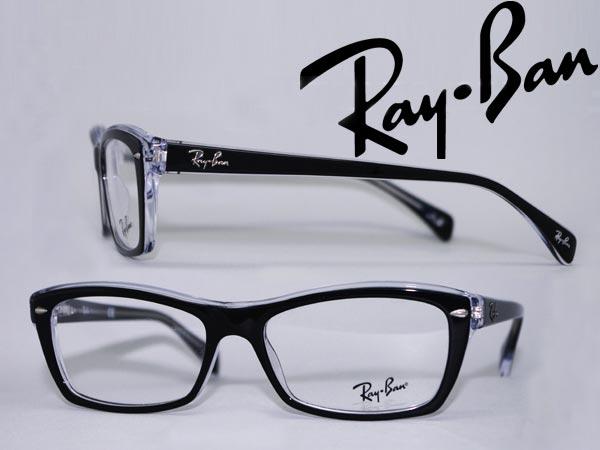 RayBan メガネフレーム レイバン ブラック×クリアスケルトン 眼鏡 めがね 0RX-5255-2034 WN045 ブランド/メンズ&レディース/男性用&女性用/度付き・伊達・老眼鏡・カラー・パソコン用PCメガネレンズ交換対応/レンズ交換は6,800円~