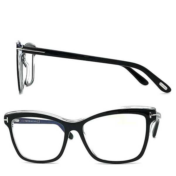 TOM FORD メガネフレーム トムフォード メンズ&レディース ブラック×クリア 眼鏡 伊達メガネ用ブルーライトカットレンズ付 パソコン用PCメガネ TF-5619B-001 ブランド