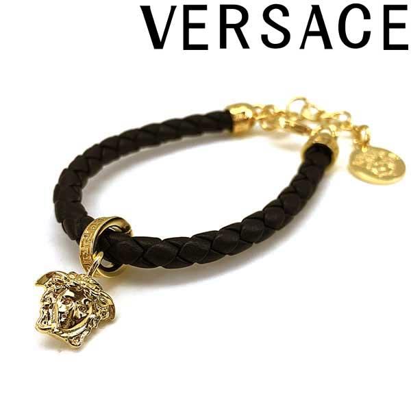VERSACE ブレスレット ベルサーチ メンズ&レディース ブラック×ゴールド メドゥーサ ロゴ DG0G353-DMTN-6D41OH ブランド