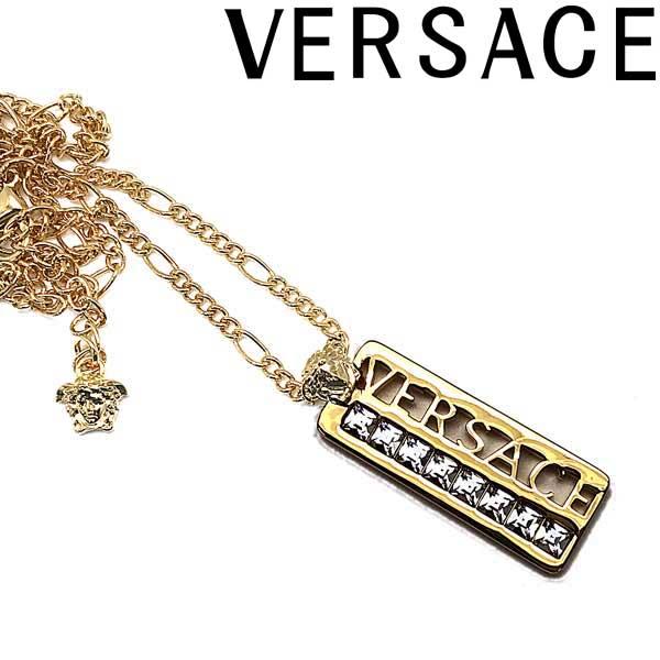 VERSACE ネックレス ベルサーチ メンズ&レディース ゴールド ロゴプレート DG1F009-DJMT-D00OC ブランド