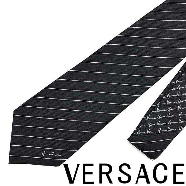 VERSACE ネクタイ ベルサーチ メンズ ブラック×ホワイト ICR7001-A233341-A7025 ブランド