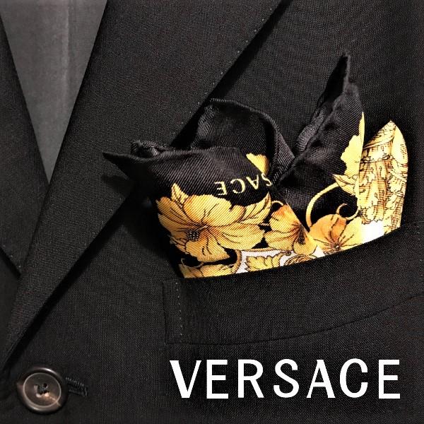 VERSACE ポケットチーフ ベルサーチ メンズ ブラック×ゴールド IPO3301-IT03101-I7900 ブランド