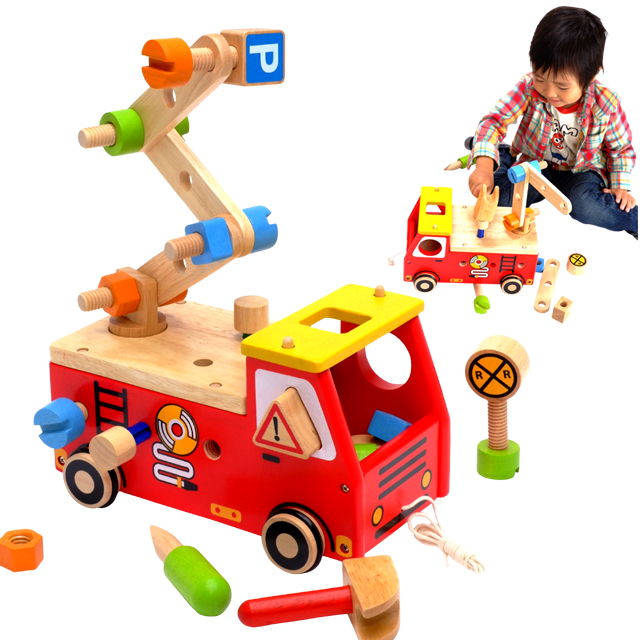 Im TOY Inc IMTI Active Fire Fighting Vehicles New Baby Boy Wood Wooden Toys Educational 2 Years Old 3 Year Birthday Gift Toy