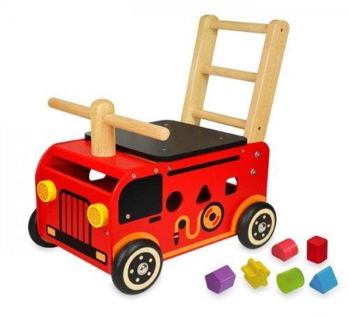 つかまり立ち I'm TOY社(アイムトイ) 「ウォーカー&ライド 消防車」 人気 出産祝い 乗用玩具 手押し車 誕生日 1歳 男 1歳 誕生日プレゼント プレゼント 木のおもちゃ 玩具 ギフト 赤ちゃん ベビー 幼児 足けり 木製 おもちゃ 0歳 0才 1才 2歳 2才 名入れ