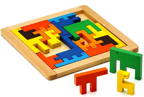 Wooden Educational Toys : Woodpal mosaic zoo wooden toy puzzle blocks