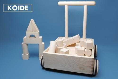 押車積木 日本製 積み木 コイデ 出産祝い 男の子 女の子 つみき 積木 ブロック 木製 おもちゃ 知育 木のおもちゃ 1歳 2歳 お祝い 4cm 白木 無塗装 送料無料 名入れ おすすめ 国産
