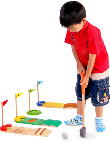●VOILA 보일러 골프 세트 장난감 목제 놀이 도구 지육 완구 3세 실내 게임 출산 축하