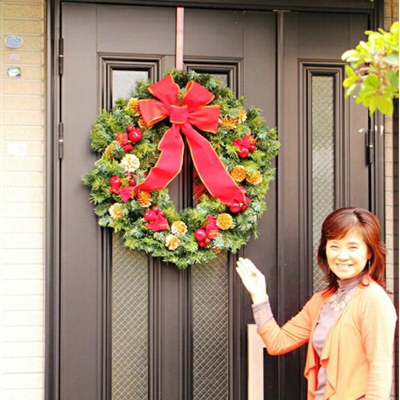 直径70cm!特大!クリスマスリース周りと差が付くLサイズ人気の為早期完売の恐れ有ディスプレイ造花お手入れいらず大きなサイズのリース送料無料9800円オーナメントラージ