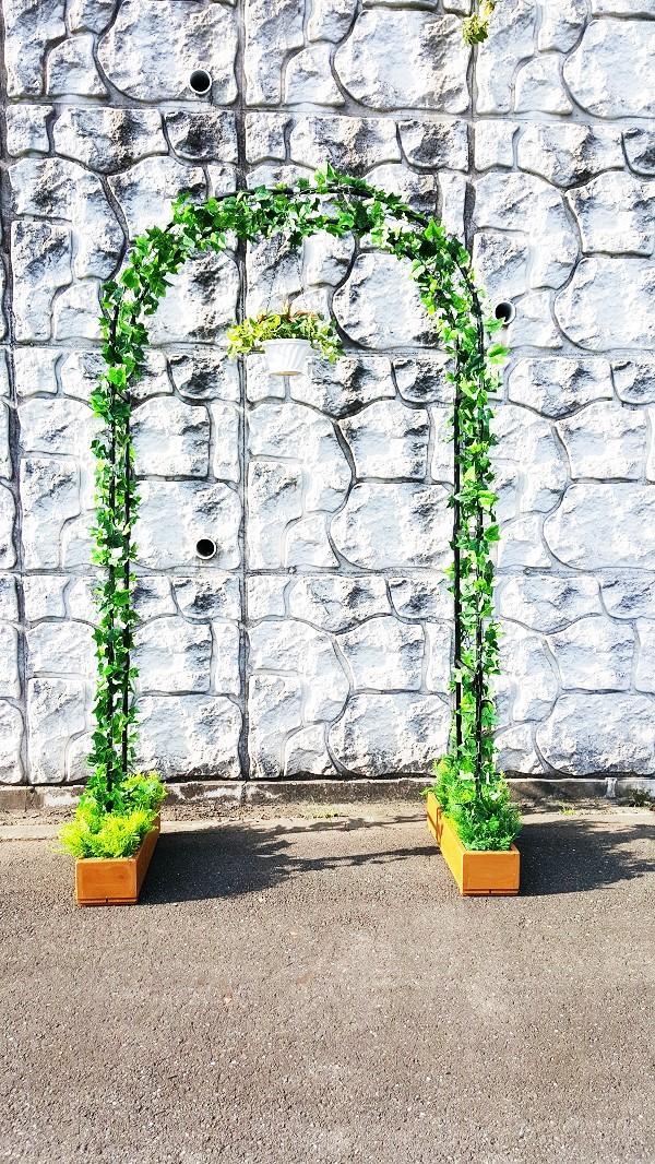 人工観葉グリーンアーチ【高さ225cm幅120cm奥行31cm】【組み立て式】【グリーンガーランド・ハンギンググリーン・プランター付】