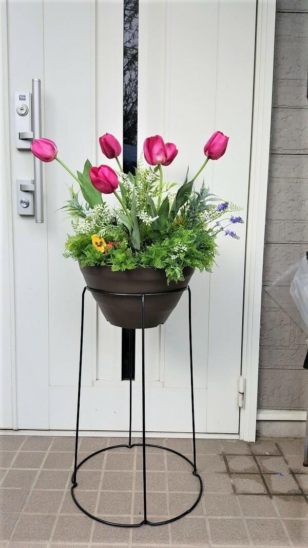 【人工観葉植物】【ミックスグリーンプランター】【プランター】【チューリップ】【まるで生花の様な作り】【屋外使用可】【1.5m】送料無料