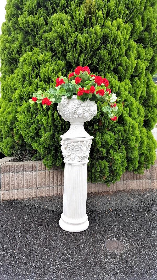 【人工観葉植物】【ゼラニュウムプランター】【花台付き】【送料無料】造花