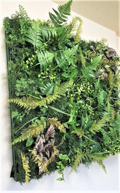 人工観葉植物 グリーンパネル  壁面緑化 特大90cm×90cm 送料無料 触媒加工済 強力両面テープ付 大量注文 ディスプレイ 店舗 装飾