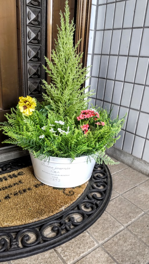 ファッション通販 人工観葉植物 ミックスグリーンプランター 無料 送料無料 屋外使用可