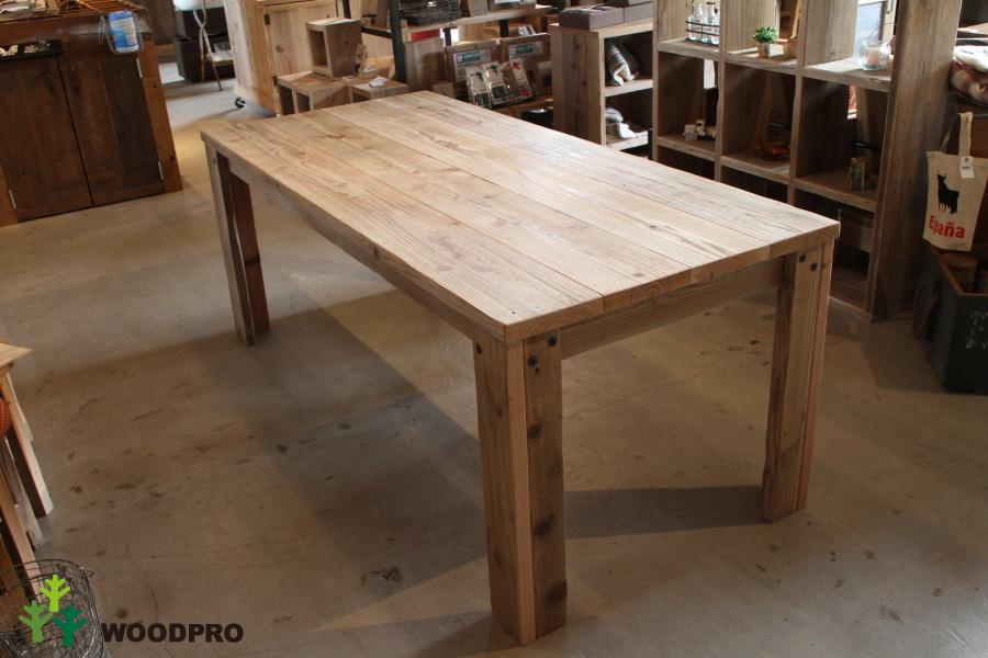 OLD ASHIBA(足場板古材)Aタイプ テーブル幅710~800mm×奥行400mm×高さ710mm(高さ指定は300~750mmまで対応可) 無塗装【受注生産】 【小型商品】