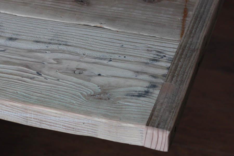 OLD ASHIBA(足場板古材)フリー板(幅つなぎ材)厚35mm×幅400mm(2枚あわせ)×長さ2010~2100mm 塗装仕上げ※縁あり(標準タイプ)[受注生産] 天板 キッチン カウンター ダイニング テーブル 棚板 デスク DIY オーダー アンティーク 【特大商品】