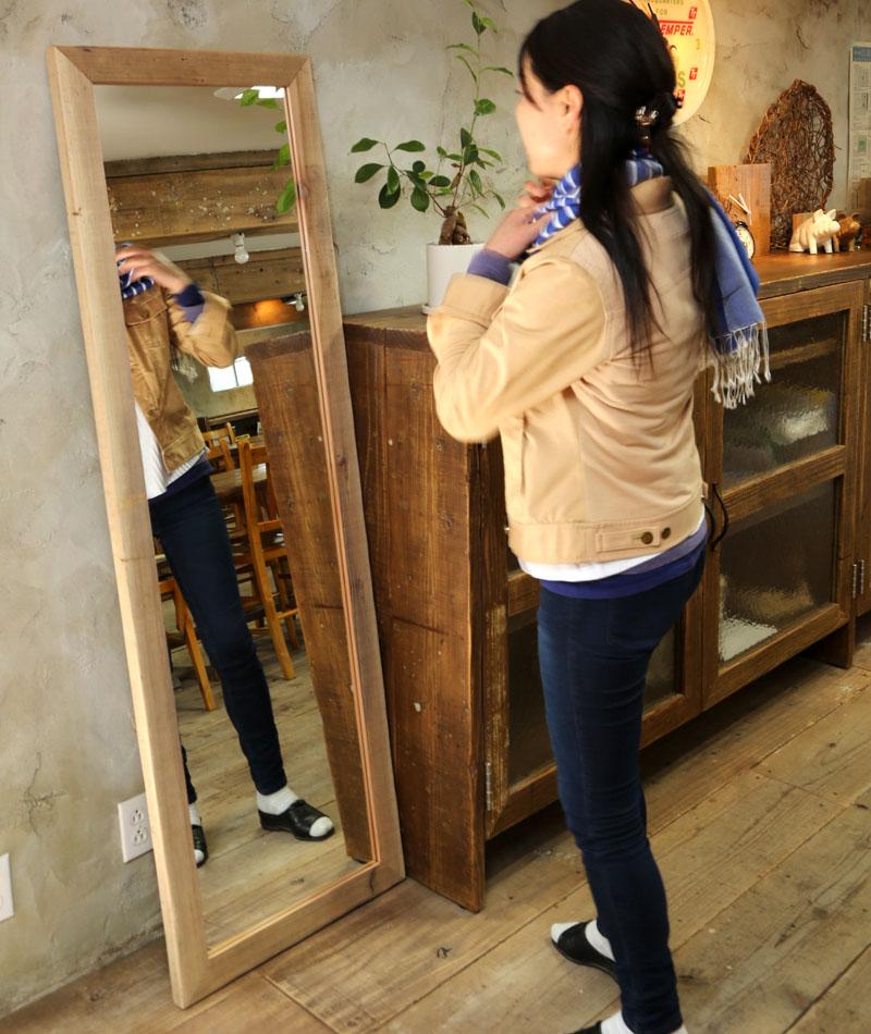 OLD ASHIBA(足場板古材)ミラー(鏡)A型 姿見Lサイズ 無塗装1600mm×520mm【アンティーク風】[受注生産] 【大型商品】
