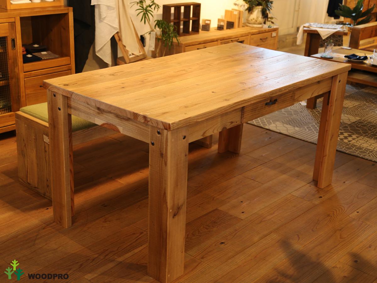 OLD ASHIBA(足場板古材)Aタイプ テーブル 引き出し付き(片面)幅1210~1300mm×奥行600mm×高さ710mm(高さ指定は300~750mmまで対応可) 塗装仕上げ【受注生産】 【特大商品】