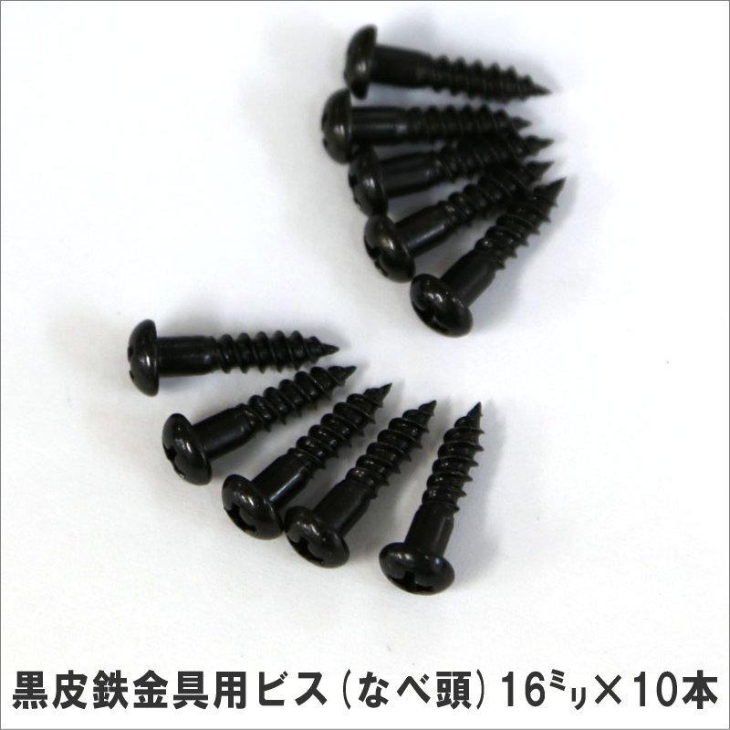 黒皮鉄金具用ビス なべ頭 2020A/W新作送料無料 16mm×10本 小型商品 激安