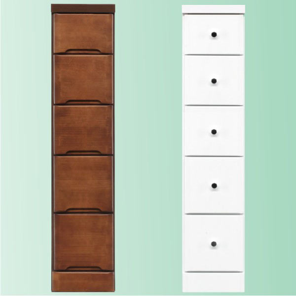 隙間家具 チェスト 幅22.5cm 5段 木製 日本製 完成品 スリム コンパクト エナメル ホワイト 白 ブラウン 送料無料