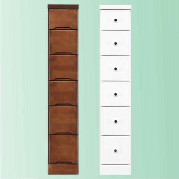 隙間家具 チェスト 幅22.5cm 6段 木製 日本製 完成品 スリム コンパクト エナメル ホワイト 白 ブラウン 送料無料