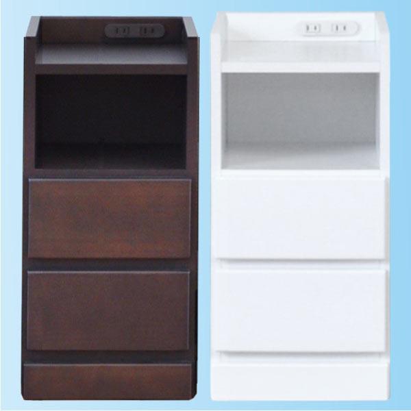 すきま収納 ナイトテーブル サイドテーブル 幅27.5cm 木製 完成品 日本製 大川家具 コンセント付き ストッパー付き コンパクト スリム ホワイト ダークブラウン 送料無料
