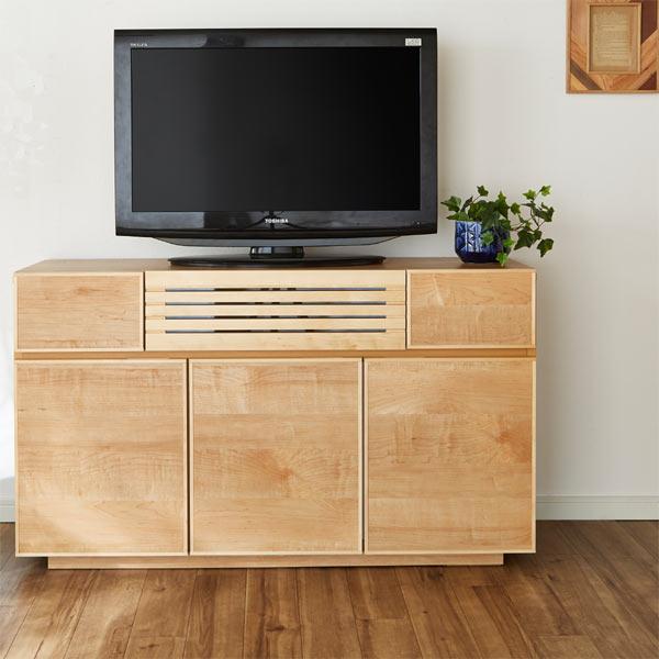 【安心・安全の開梱設置】テレビボード リビングボード 幅120cm 木製 メイプル 無垢 完成品 日本製 フルスライドレール付き ナチュラル 送料無料