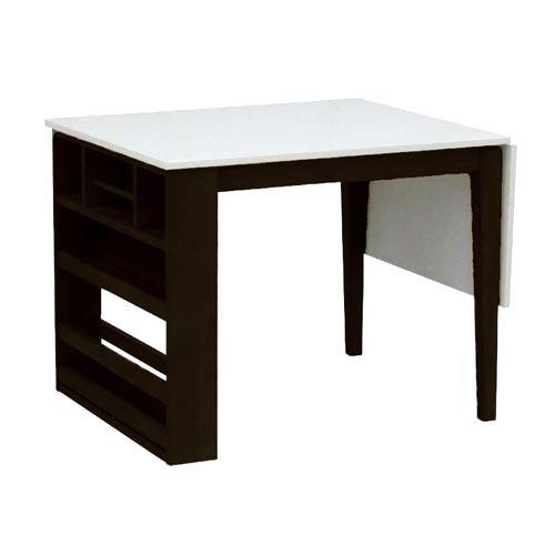 伸長式 収納ラック ダイニングテーブル 90 ホワイト【送料無料】