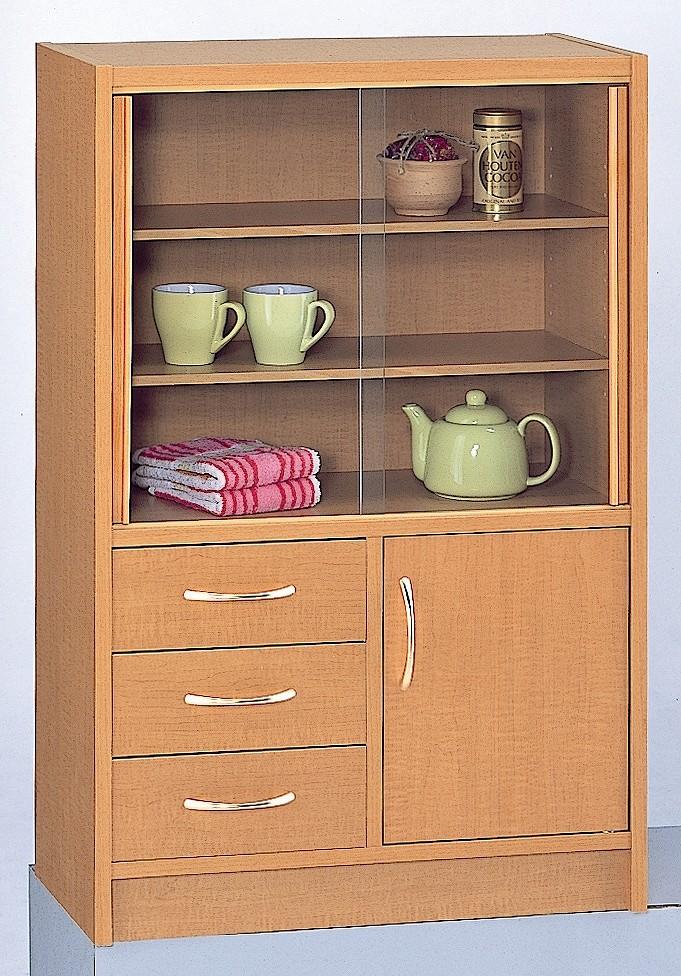 ミニ食器棚 コンパクト 90 食器棚 完成品 日本製 【送料無料】メープル色欠品中