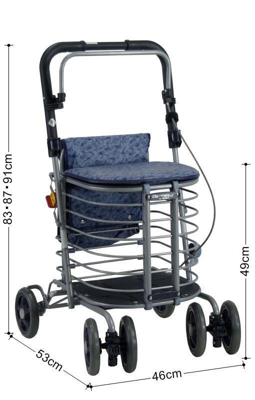 シルバーカー 老人車 歩行器 歩行車 折りたたみ 大容量 レインカバー〈5364〉【送料無料】