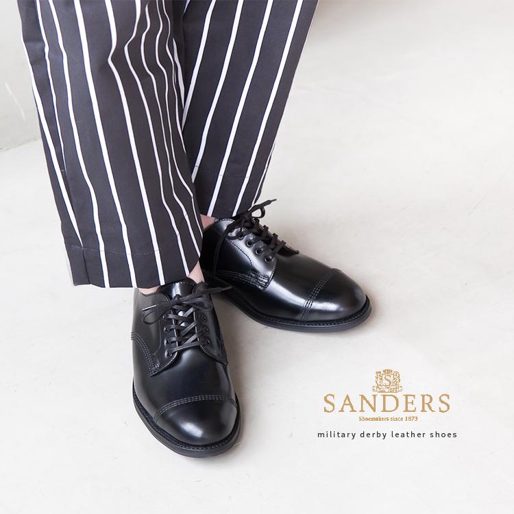 【ポイント最大34倍 16日01:59まで】[military-derby-shoe] Sanders(サンダース) MIlitary Derby shoes Black Polishing Leather(ミリタリーポリッシングレザーシューズ/革靴)【メール便対象外】【送料・代引き手数料無料】EJ