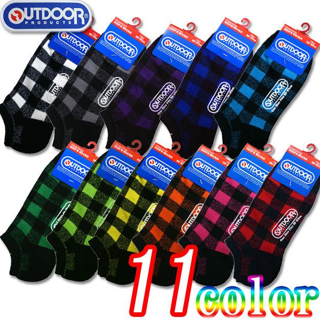 9d94e18c22d43 11色セット/バッファローチェック(OUTDOOR)スニーカーソックス 23-25・25-27cm2サイズ/11色組 靴下/ソックス