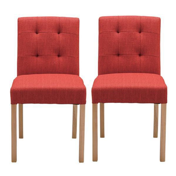 ダイニングチェアー 2脚セット レッド 赤 ファブリック 布張り製 カジュアル 食堂椅子 食堂チェアー 食卓チェアー 食卓椅子 カウンターチェアー いす イス カフェチェアー