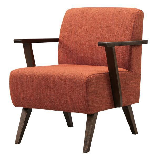 1人掛けソファー 幅60cm オレンジ ブラウン 茶 ファブリック 布張り製 カジュアル 1人用ソファー 一人掛けソファー 一人用ソファー そふぁー シングルソファー コンパクトソファー