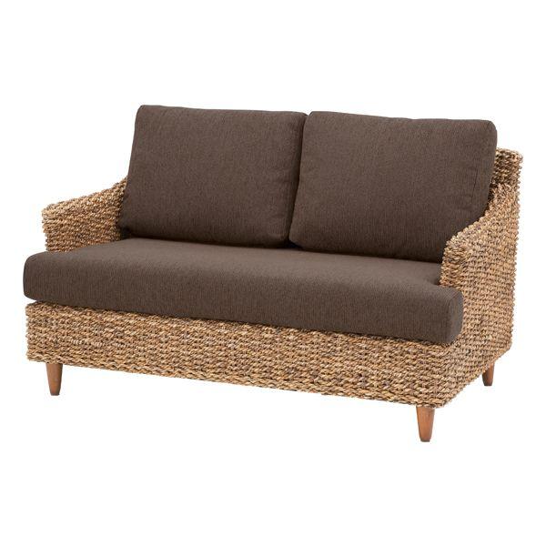 2人掛けソファー 布張り製 アジアン ブラウン 2人用ソファー 二人掛けソファー 二人用ソファー ラブソファー そふぁー ダブルソファー コンパクトソファー