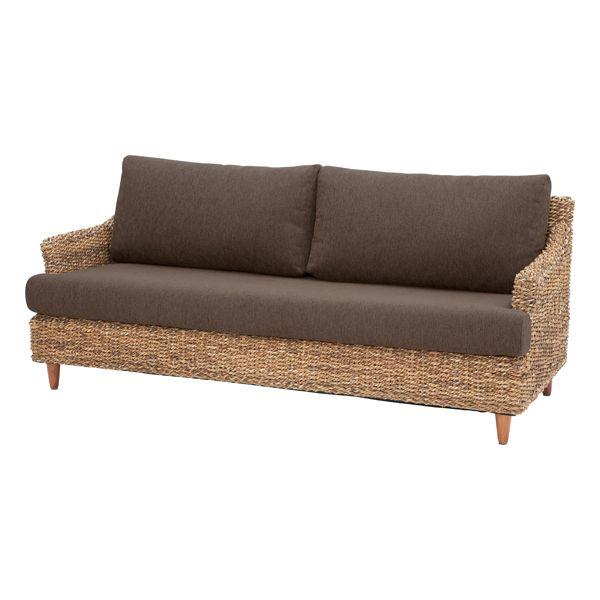 3人掛けソファー 布張り製 アジアン ブラウン 3人用ソファー 三人用ソファー 三人掛けソファー そふぁー ラブソファー