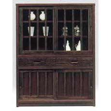 キャビネット 完成品 木製 和風 幅90cmハイタイプ ブラウン リビング収納家具 サイドボード 飾り棚 飾棚 リビングボード 収納棚 リビングラック リビングシェルフ 収納ラック 食器棚 書棚 本棚 国産品 日本製