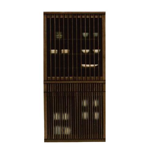 食器棚 完成品 幅90cm ダイニングボード キッチンボード 食器収納家具 キッチン収納棚 キッチンキャビネット 水屋 カップボード 食器収納棚 木製 和風 ナチュラル ブラウン 国産品 日本製